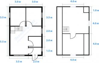 планировка дома 6х9 с тремя фронтонами
