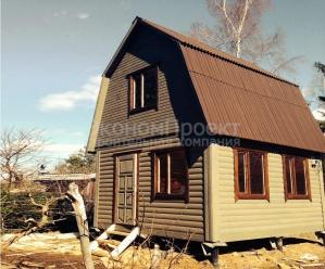 Садовый домик 4х4 под ключ, с жилой мансардой, крыша ломаная