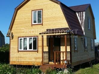 Дом из бруса 6х9 с тремя фронтонами вид сбоку Д12