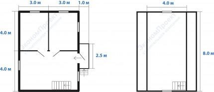 Планировка дачного дома 6х8 с мансардой под ключ