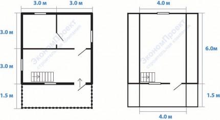 Дом из бруса 6х7,5 под ключ, с террасой и балконом 2 этажа, крыша ломаная