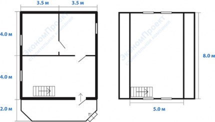 планировка дома 7х8